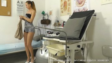 Awesome ponytail brunette doctor check-up spy cam