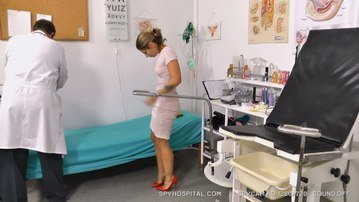 Spy cam footage of high heels blonde speculum check-up