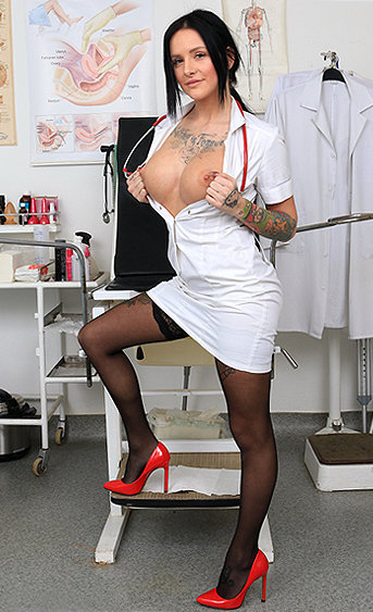 Naughty nurse Alexandra pussy spreading HD video
