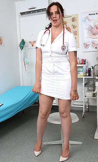 Naughty nurse Alicia pussy spreading HD video