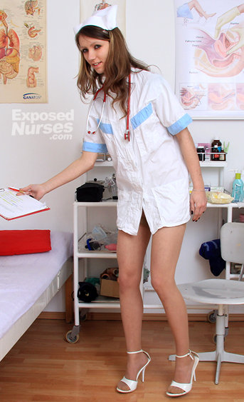 Naughty nurse Amelia pussy spreading HD video