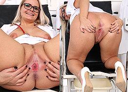 Sexy nurse Anikka speculum play