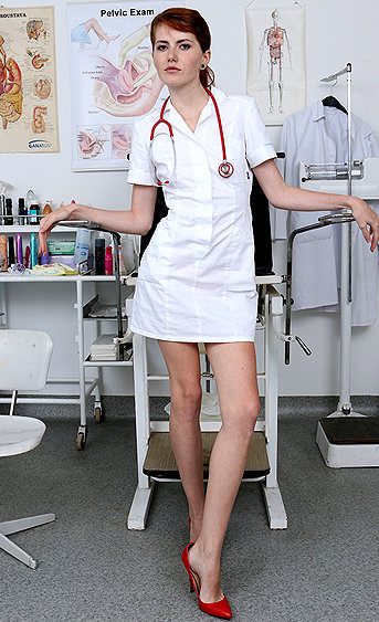Naughty nurse Anna Swix pussy spreading HD video