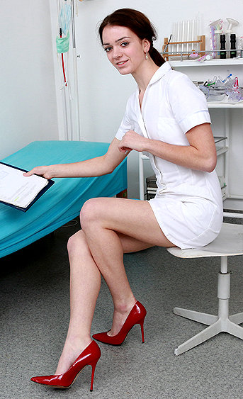 Naughty nurse Atena pussy spreading HD video
