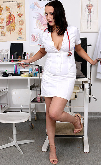 Naughty nurse Bea pussy spreading HD video