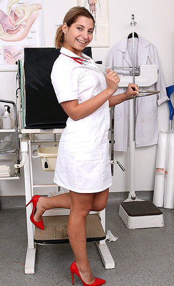 Naughty nurse Belinda pussy spreading HD video