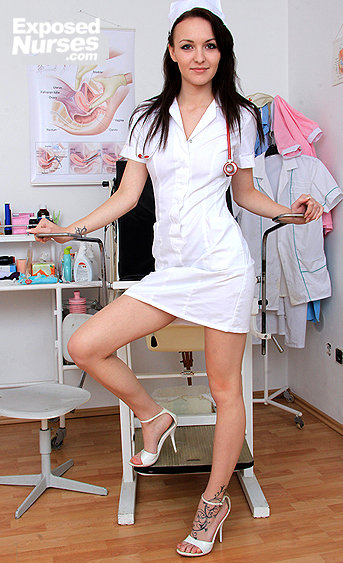 Naughty nurse Belle Claire pussy spreading HD