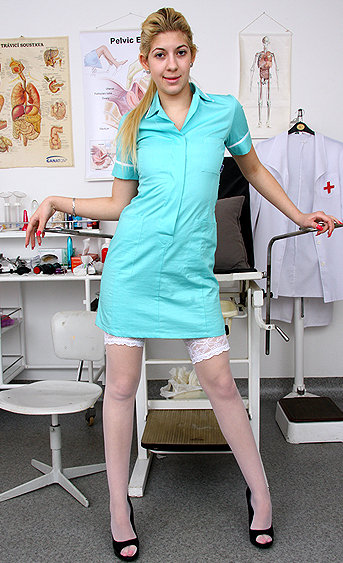 Naughty nurse Bianca pussy spreading HD video