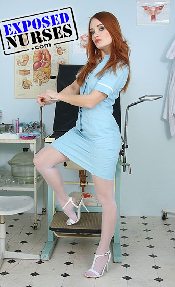 Naughty nurse Denisa Heaven pussy spreading HD video
