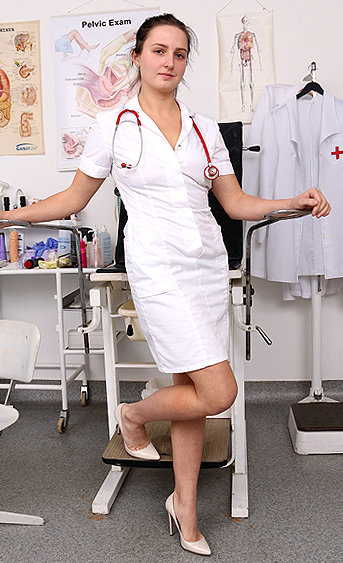 Naughty nurse Dina pussy spreading HD video