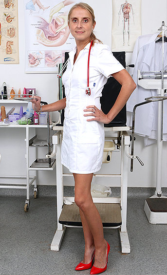 Naughty nurse Eugenia pussy spreading HD video
