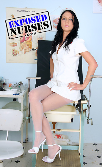 Naughty nurse Gabina pussy spreading HD video