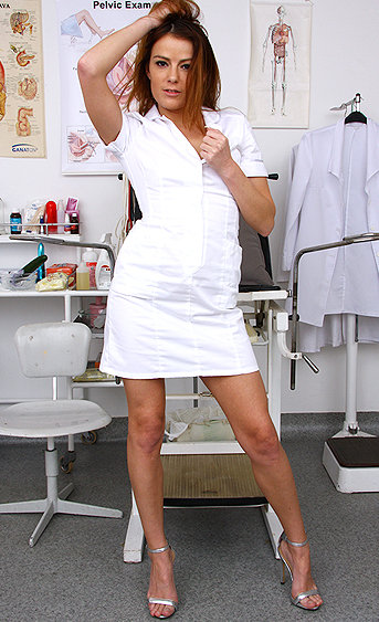 Naughty nurse Giny Loud pussy spreading HD video