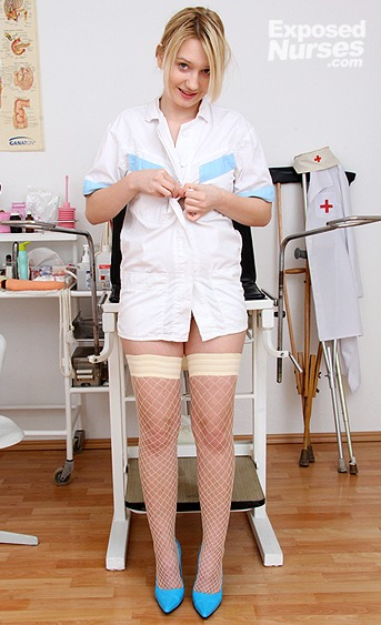 Naughty nurse Grace pussy spreading HD