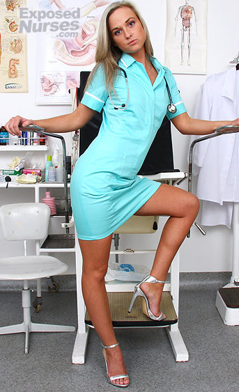 Naughty nurse Henrietta pussy spreading HD video