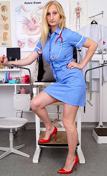 Naughty nurse Ingrid pussy spreading HD video