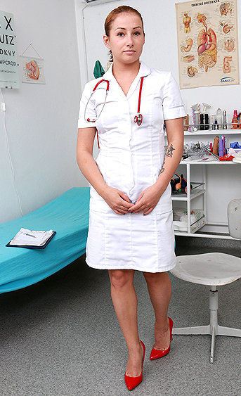 Naughty nurse Katya pussy spreading HD video