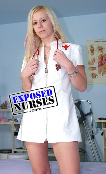 Naughty nurse Kristyna pussy spreading HD video