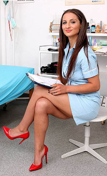 Naughty nurse Laura Noirett pussy spreading HD video