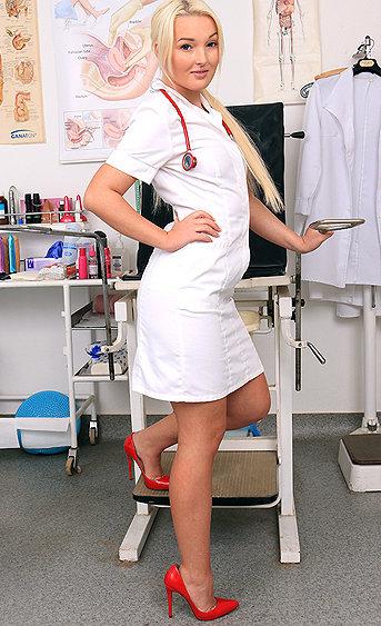 Naughty nurse Lovita Fate pussy spreading HD video