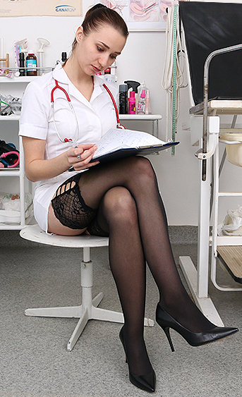 Naughty nurse Mara pussy spreading HD video