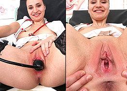 Sexy nurse Mara speculum play