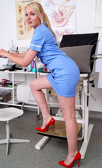 Naughty nurse Margot pussy spreading HD video