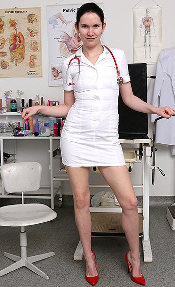 Naughty nurse Marietta pussy spreading HD video