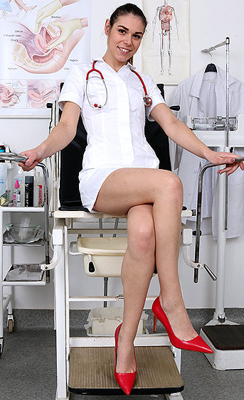 Naughty nurse Marisa pussy spreading HD video