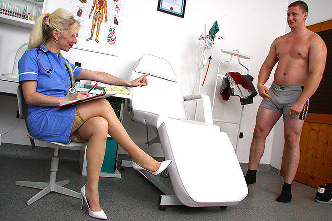 Cfnm nurses in uniform make their patent cum 4