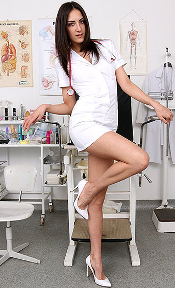 Naughty nurse Miky Love pussy spreading HD video