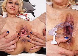 Sexy nurse Mira speculum play