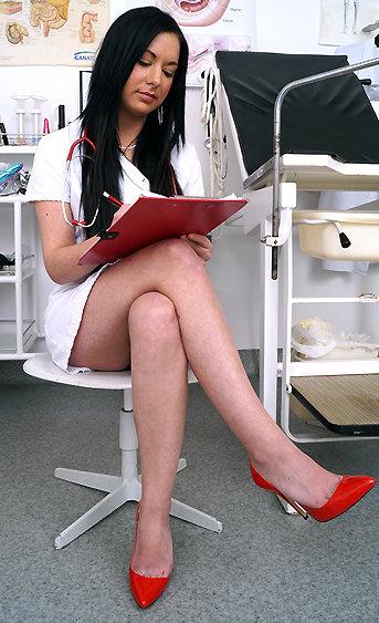 Naughty nurse Nadia pussy spreading HD video