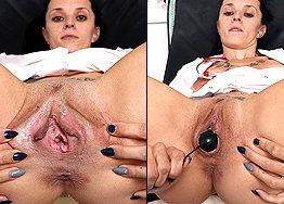 Sexy nurse Nena speculum play