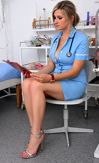 Naughty nurse Nora pussy spreading HD video