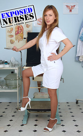 Naughty nurse Olga Barz pussy spreading HD video
