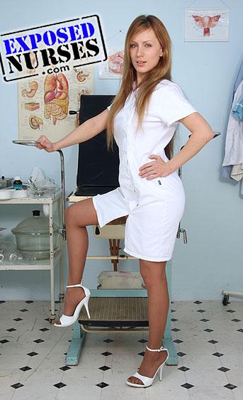 Naughty nurse Olga Barz pussy spreading HD video