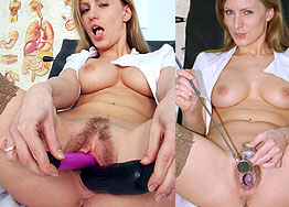 Sexy nurse Olga Barz speculum play