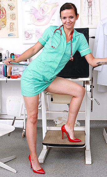 Naughty nurse Paolina pussy spreading HD video