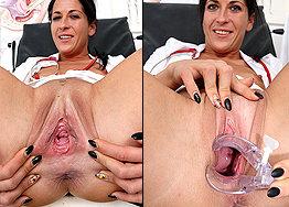 Sexy nurse Ronja speculum play