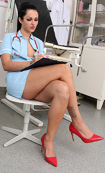 Naughty nurse Selina pussy spreading HD video