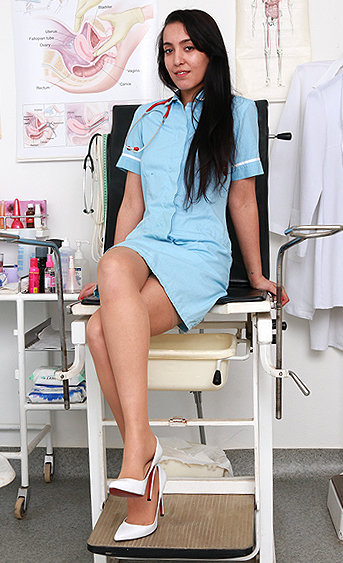 Naughty nurse Taisia pussy spreading HD video