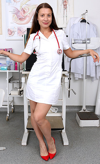 Naughty nurse Therese Bizarre pussy spreading HD video
