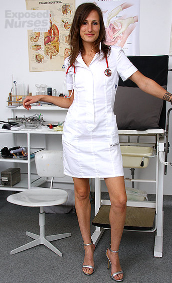Naughty nurse Vera pussy spreading HD video