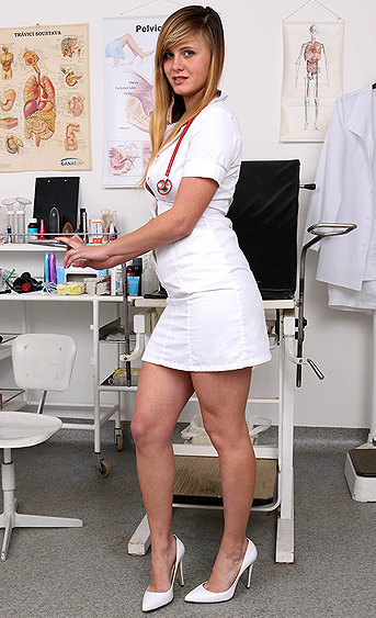 Naughty nurse Violet pussy spreading HD video