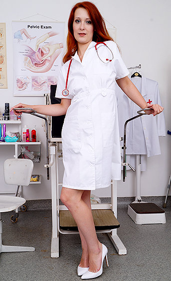 Naughty nurse Xenia pussy spreading HD video