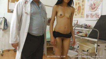 Senior doctor checks skinny latina hidden camera footage