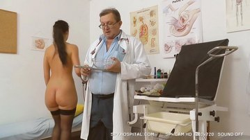 Hidden cam video of hot brunette at gyno doctor