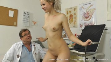 Indecent gyno doctor spying on awesome russian blonde