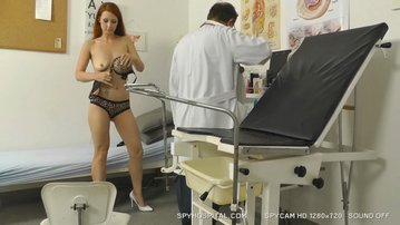 Fuckable redhead full gyno exam caught on spy cam